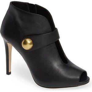 MICHAEL KORS Peep Toe Black Leather Ankle Booties